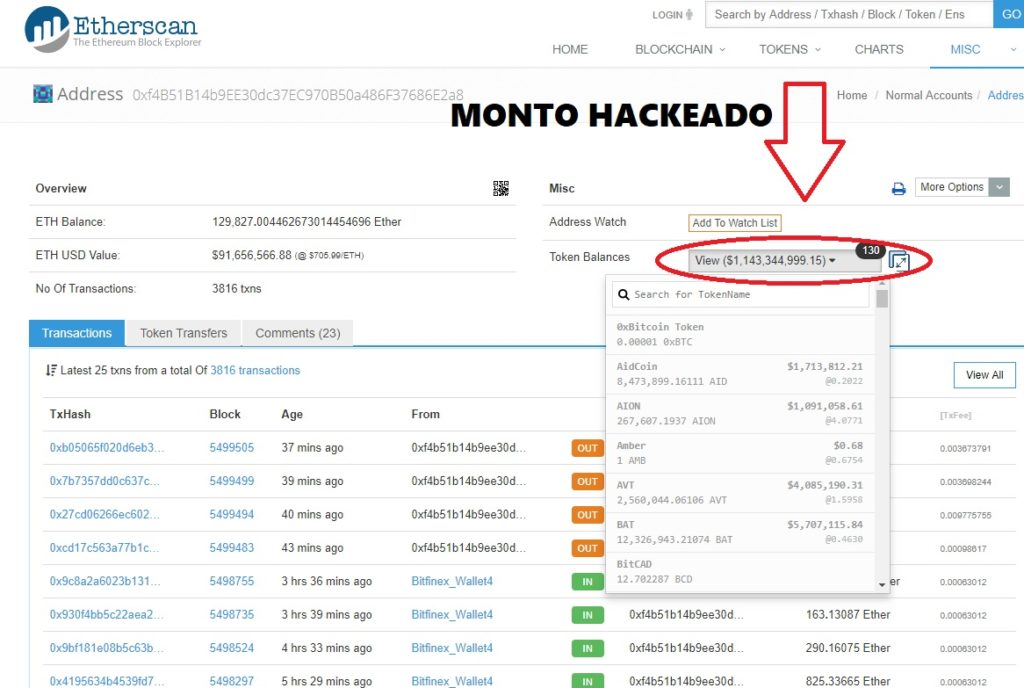 MyEtherWallet Hackeado Lo robado ya asciende a más de 1000 millones de dólares (un billón para los americanos).