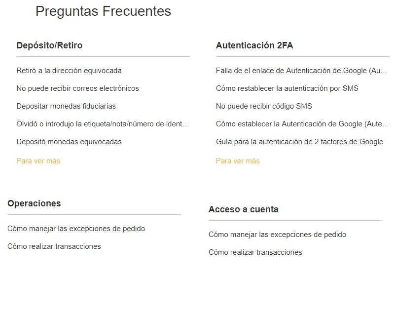 faq soporte español binance